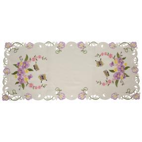 Tischläufer Blumen & Schmetterlinge, bestickt