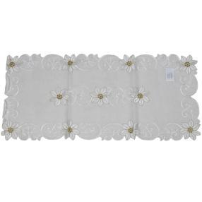 Tischläufer floral weiß/gold, bestickt