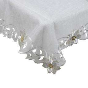 Tischdecke floral 130x160cm weiß bestickt