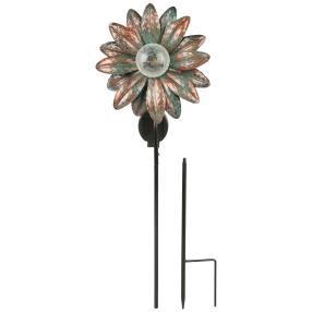 LED Solarleuchte Blume grün, Glas Crackle