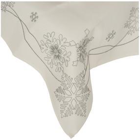 Mitteldecke 'Schneeflocken', weiß/silber