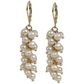 Ohrhänger 925 St.Silber vergoldet Perlen weiß