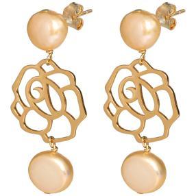 Ohrhänger 925 St.Silber vergoldet Rose+Perlen rosé