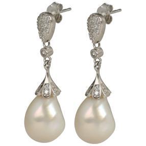 Ohrhänger 925 St. Silber Perle+Zirkonia