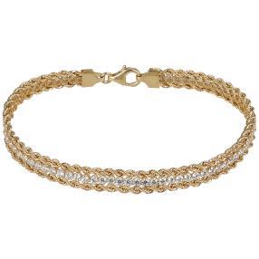 Kordel-Armband 585 Gelbgold mit Zirkonia