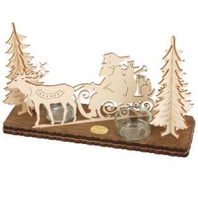 SAICO Leuchter Weihnachtsmann Rentier 2 Teelichte
