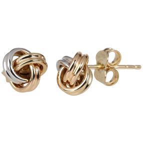 Ohrstecker Knoten 585 Gelbgold, Weißgold+Rosegold