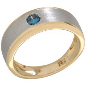 Ring 950 Platin 750 Gelbgold Brillant blau