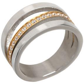 Ring Titan bicolor mit Zirkonia