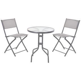 Bistrotisch + 2 Stühle metall, grau