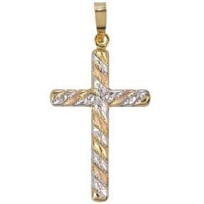 Anhänger Kreuz 750 Gelbgold