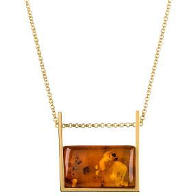 Collier+Anhänger 925 Silber vergoldet Bernstein