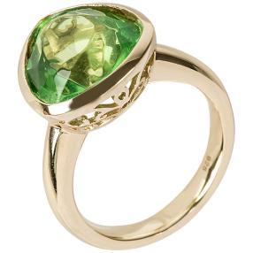 Ring 925 St. Silber vergoldet, Bernstein grün