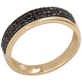 Ring 375 Gelbgold Diamanten schwarz