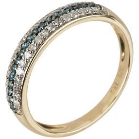 Ring 375 Gelbgold Diamanten blau
