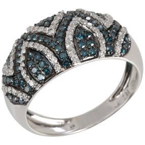 Ring 585 Weißgold Diamanten weiß/blau