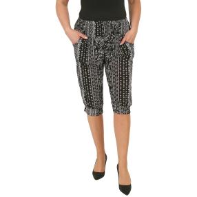 Leichte Damen-Sommerhose, Bambus, schwarz/weiß