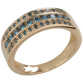 Ring 375 Gelbgold Brillanten blau