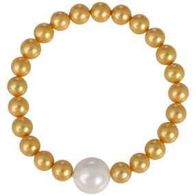 Flex-Armband Muschelkernperle, gold/weiß