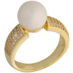 Ring vergoldet Muschelkernperle+Zirkonia weiß