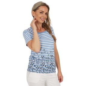 Damen-Shirt `Cannes` gestreift  blau/weiß