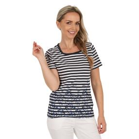 Damen-Shirt `Cannes` gestreift  marine/weiß