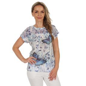 Damen-Shirt 'Eulària' weiß/blau