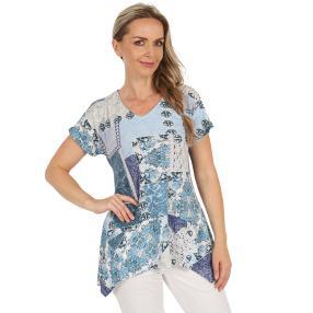 Damen-Longshirt 'Algaida' weiß/blau