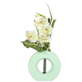 Orchidee weiß/mint, ca. 45 cm, in Keramikvase