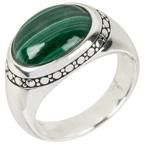 Ring 925 Silber, Malachit