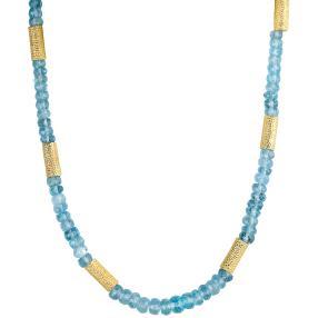 Collier Aquamarin, 925 Silber vergoldet