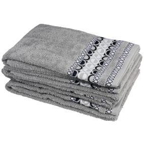 Handtuch 4-teilig, grafisch grau