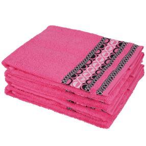 Handtuch 4-teilig, grafisch pink