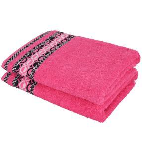 Duschtuch 2tlg. grafisch pink