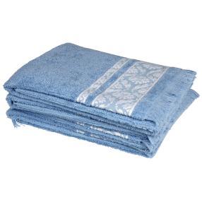 Handtuch 4-teilig, hellblau mit Fransen