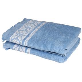 Duschtuch 2-teilig, blau/weiß, mit Fransen