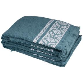 Handtuch 4-teilig grün, mit Fransen