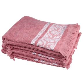 Handtuch 4tlg. rosé mit Fransen