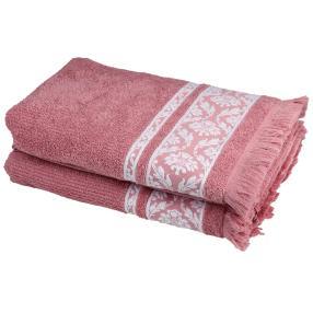 Duschtuch 2tlg. rosé Fransen