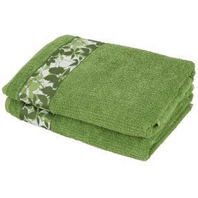 Duschtuch 2-teilig, Blätter grün