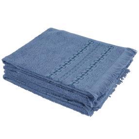 Handtuch 4-teilig, blau, mit Fransen