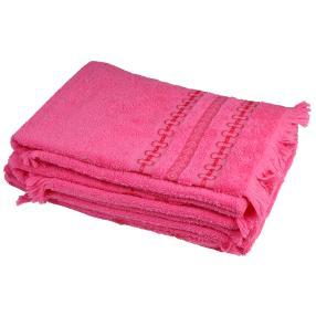Handtuch 4-teilig, pink, mit Fransen