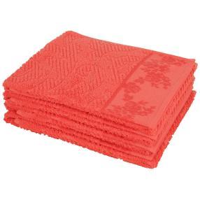 Handtuch 4-teilig, Ornament/Rosen korallenrot