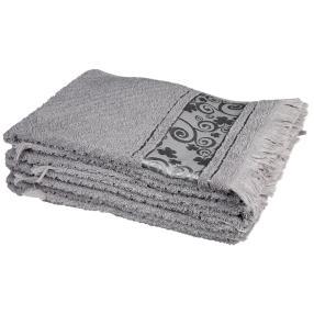 Handtuch 4tlg. Fransen grau