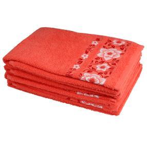 Handtuch 4tlg. korallenrot Lilien