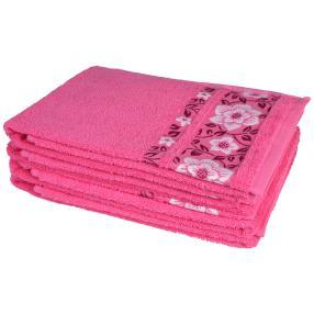 Handtuch 4-teilig, pink Blumen