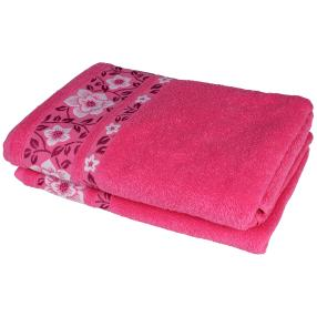 Duschtuch 2-teilig, pink Blumen