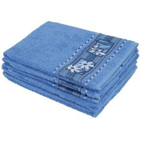 Handtuch 4-teilig, Blüten blau