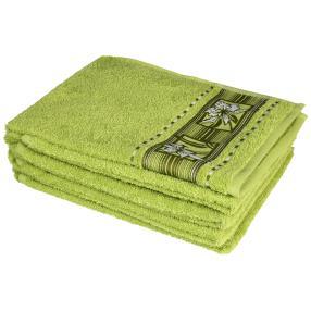 Handtuch 4-teilig, Blüten grün