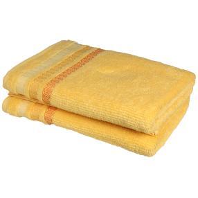Duschtuch 2-teilig, Zopfmuster gelb